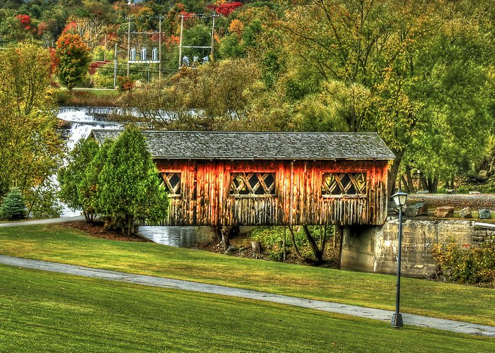 Covered Bridge Greeting Card featuring the photograph The Kissing Bridge by Evelina Kremsdorf