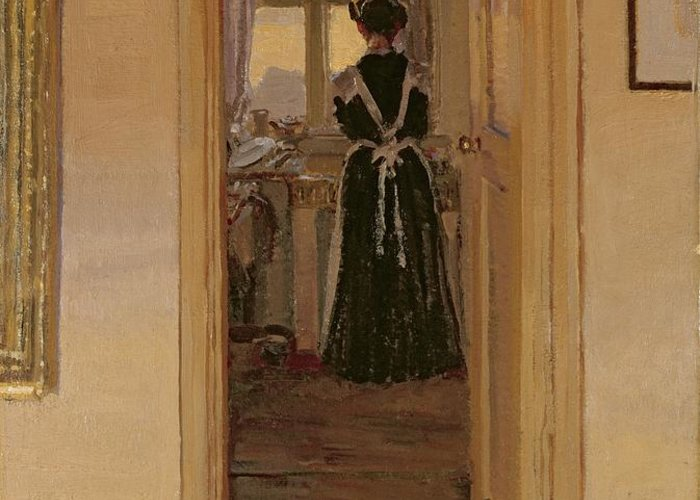 The Greeting Card featuring the painting The Kitchen by Harold Gilman