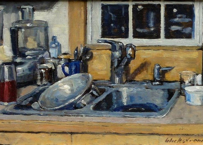 Still Greeting Card featuring the painting The Kitchen Sink by Thor Wickstrom