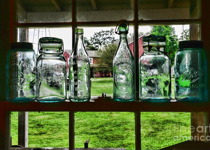 Bottles And Jars In The Window Greeting Card featuring the photograph The Kitchen Window by Paul Ward