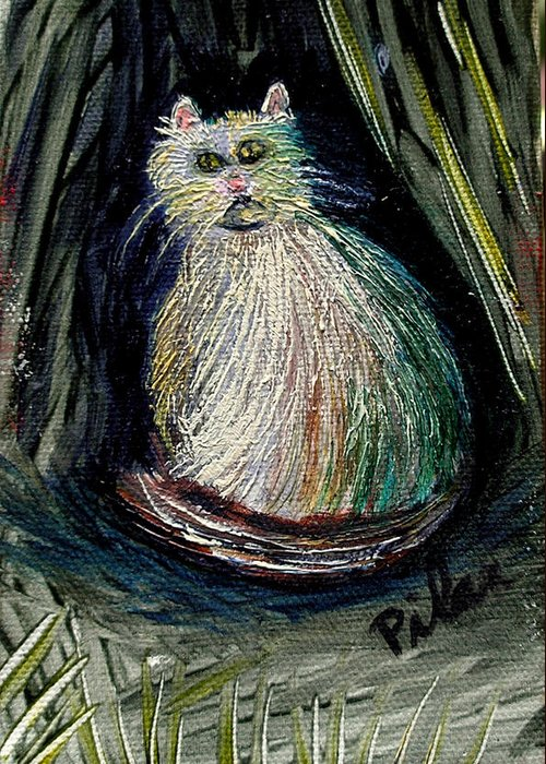 White Cat Greeting Card featuring the painting The Kitty Cat by Pilar Martinez-Byrne