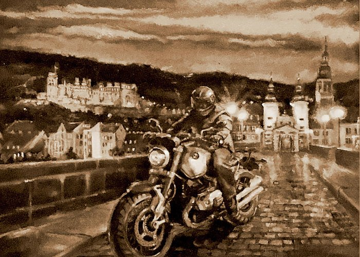 Sepia Painting Greeting Card featuring the painting The Knight of Heidelberg-Sepia by BJ Lane