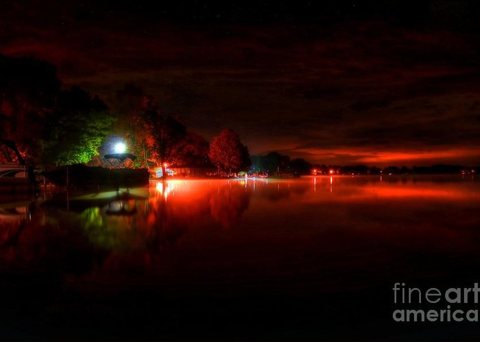 Night Greeting Card featuring the photograph The Lake At Nightfall by Michael Garyet