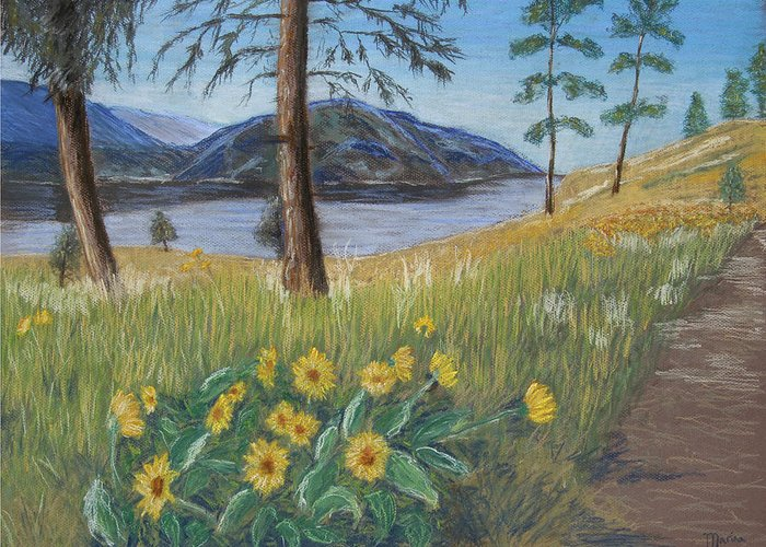 Lake View Greeting Card featuring the painting The Lake Trail by Marina Garrison