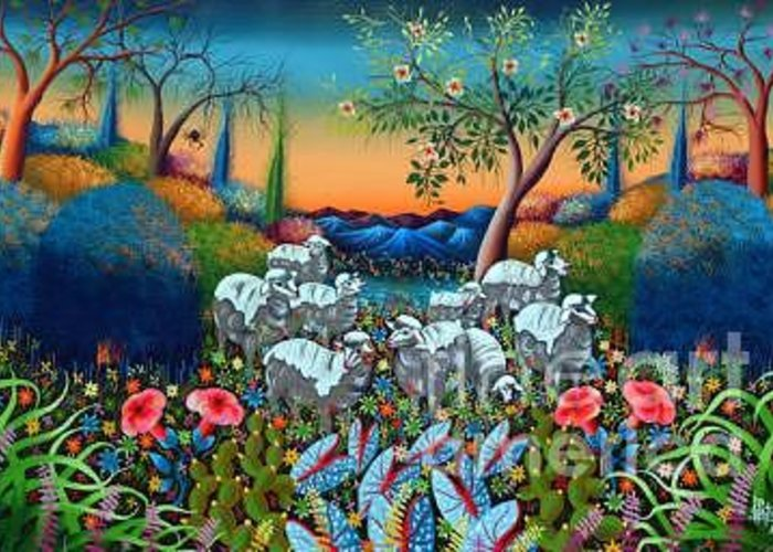 The Lambs Of God Greeting Card featuring the painting The Lambs Of God by Frantz Petion