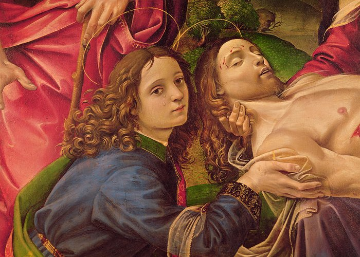 The Greeting Card featuring the painting The Lamentation Of Christ by Capponi