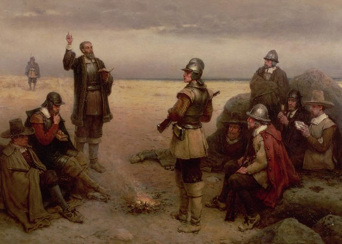 Helmet; Breast Plate; Roundhead; Round; Head; New; World; Founding; Pilgrims; Settlers; United States; Plymouth; Arrival; America; American Beach; Beach; Coast; Coastal Greeting Card featuring the painting The Landing Of The Pilgrim Fathers by George Henry Boughton