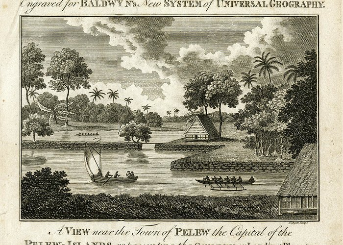 Palau Greeting Card featuring the drawing The Landing Place At Palau by ex Keats