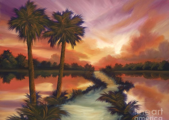 Skyscape Greeting Card featuring the painting The Lane Ahead by James Christopher Hill