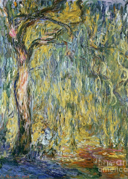 Claude Greeting Card featuring the painting The Large Willow At Giverny by Claude Monet