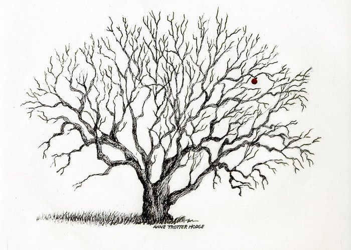 Landscape Greeting Card featuring the print The Last Apple by Anne Trotter Hodge