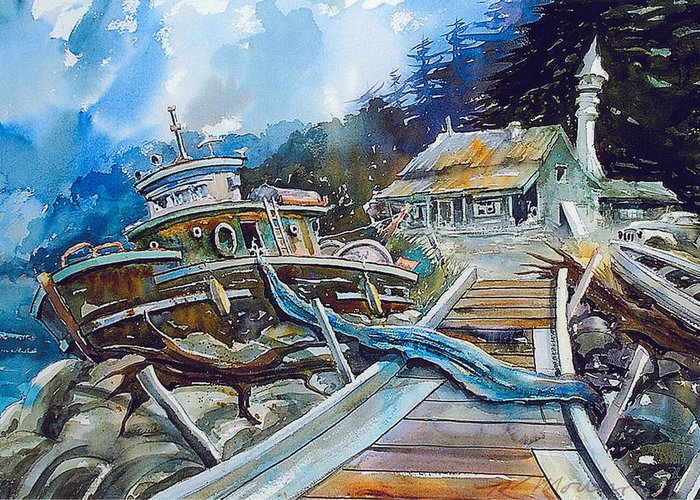 Boat Greeting Card featuring the painting The Last Bastion..on the Beach by Ron Morrison