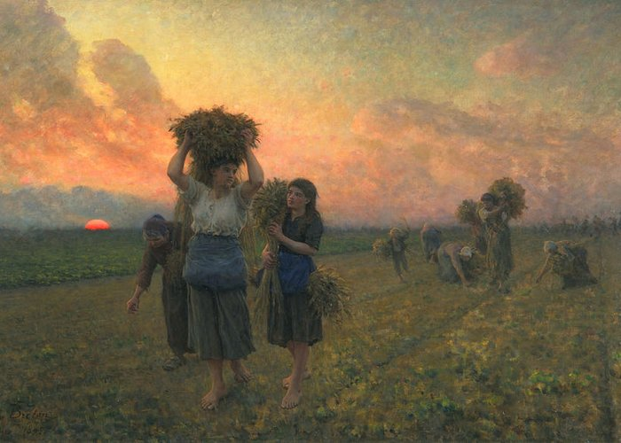 Sundown Greeting Card featuring the painting The Last Gleanings by Jules Breton