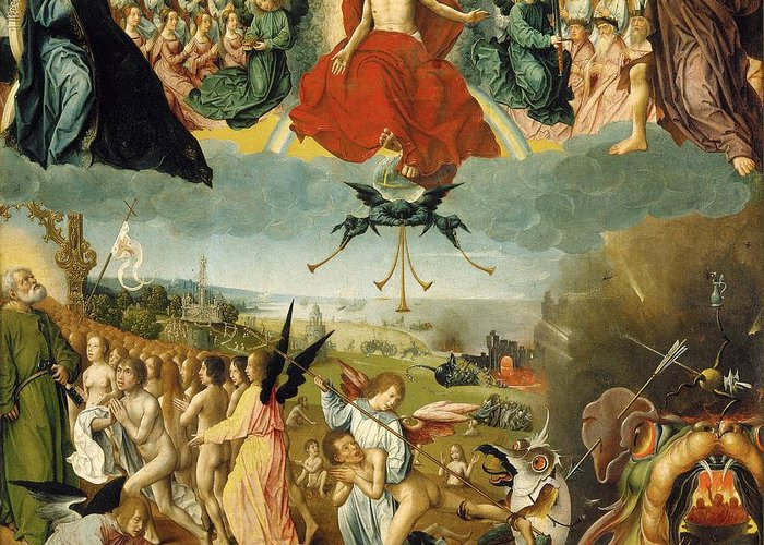 The Greeting Card featuring the painting The Last Judgement by Jan II Provost