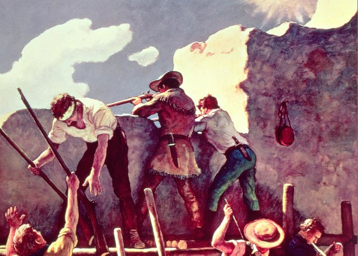 Alamo Greeting Card featuring the painting The Last Stand At The Alamo by Newell Convers Wyeth