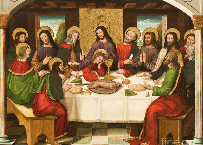 The Last Supper Greeting Card featuring the painting The Last Supper by Master of Portillo