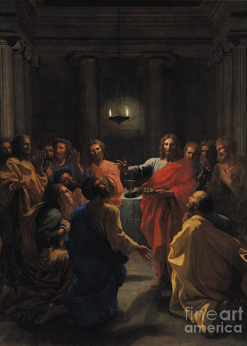 Christ Instituting The Eucharist Greeting Card featuring the painting The Last Supper by Nicolas Poussin