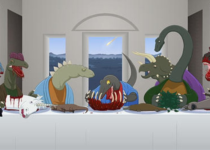Last Supper Greeting Card featuring the digital art The Last Supper Of Raptor Jesus by Greasy Moose