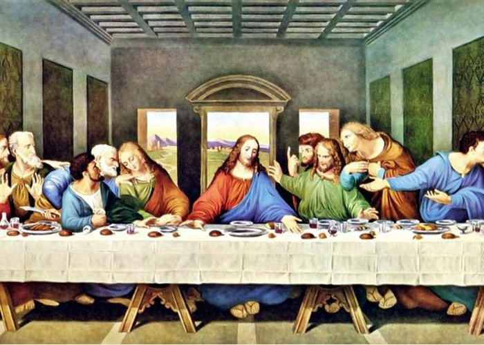 Leonardo Da Vinci's The Last Supper Restored Greeting Card ... Da Vinci Last Supper Restored