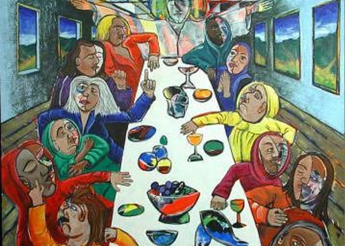 Last Greeting Card featuring the painting The Last Supper by Rollin Kocsis