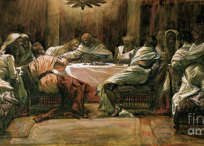 The Last Supper Greeting Card featuring the painting The Last Supper by Tissot