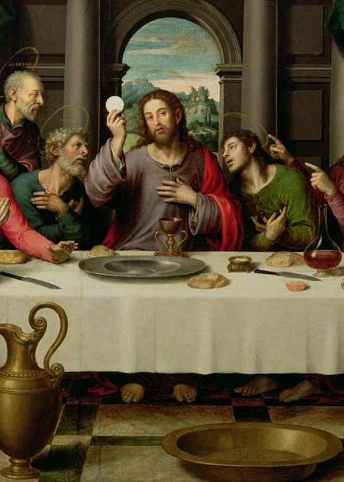 The Last Supper (oil On Panel) By Vicente Juan Macip (juan De Juanes) (c.1510-79) Greeting Card featuring the painting The Last Supper by Vicente Juan Macip