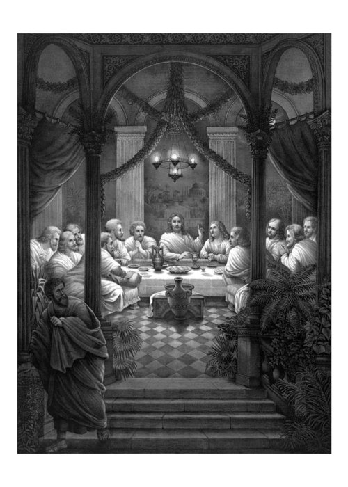 Jesus Greeting Card featuring the mixed media The Last Supper by War Is Hell Store