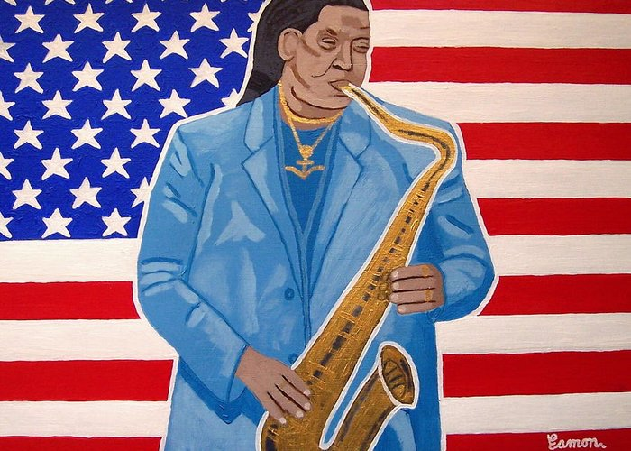 Clarence Clemons Greeting Card featuring the painting The Late Great Clarence Clemons by Eamon Reilly