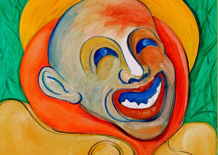 Clown Greeting Card featuring the painting The Laugh Of A Clown by Dan Earle