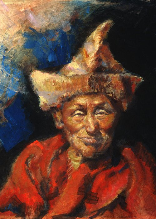 Oil Paintings Greeting Card featuring the painting The Laughing Monk by Ellen Dreibelbis