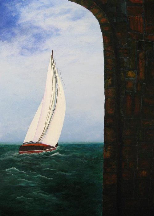 Seascape Greeting Card featuring the painting The Laurenda by Betty Reineke