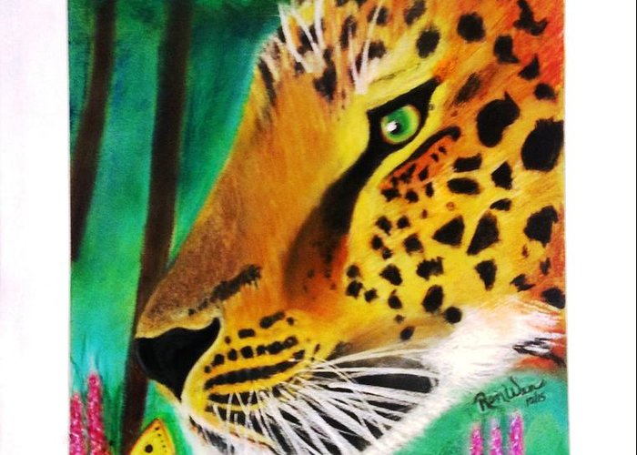 Leopard Greeting Card featuring the painting The Leopard And The Butterfly by Renee Michelle Wenker