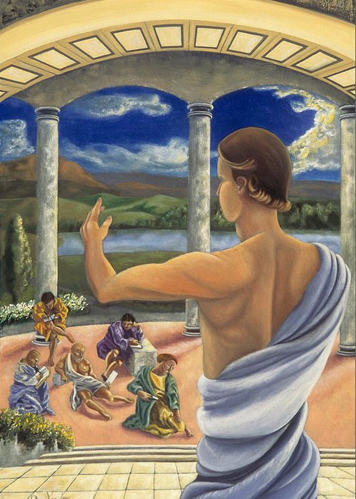 Landscape Greeting Card featuring the painting The Lesson by Gloria Cigolini-DePietro