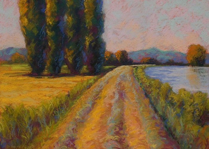 Pastel Greeting Card featuring the painting The Levee by Marion Rose