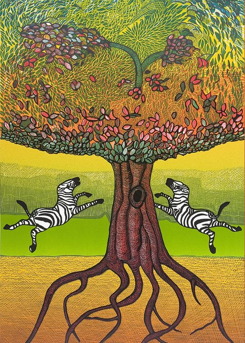 Landscape Greeting Card featuring the mixed media The Life-giving Tree. by Jarle Rosseland