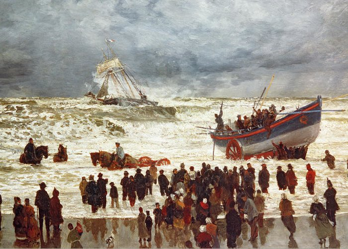 The Greeting Card featuring the painting The Lifeboat by William Lionel Wyllie