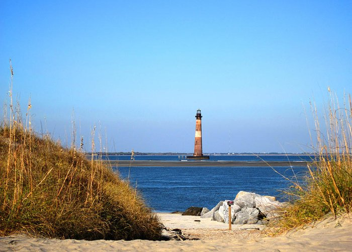 Photography Greeting Card featuring the photograph The Lighhouse At Morris Island Charleston by Susanne Van Hulst