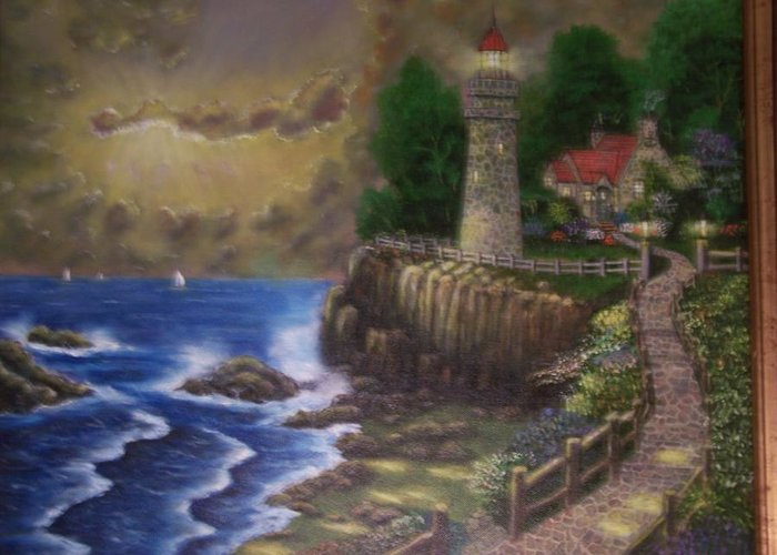 Ocean Greeting Card featuring the painting The Light by Charles Vaughn