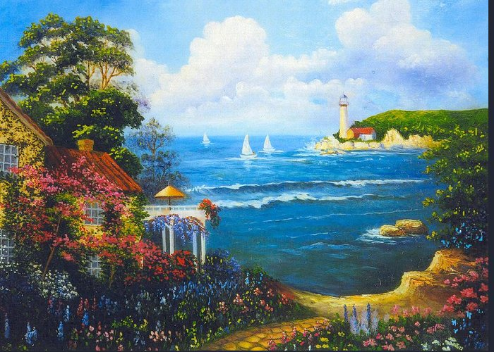 Lighthouse Greeting Card featuring the digital art The Light House By The Sea by Jeanene Stein