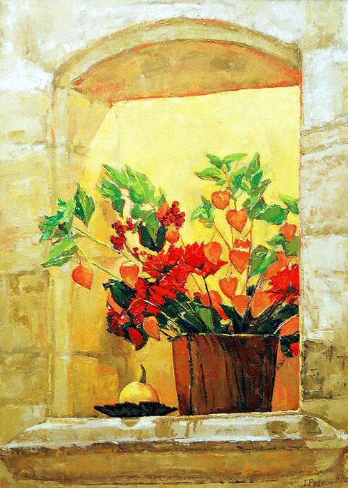Still Life Greeting Card featuring the painting The Light by Iliyan Bozhanov