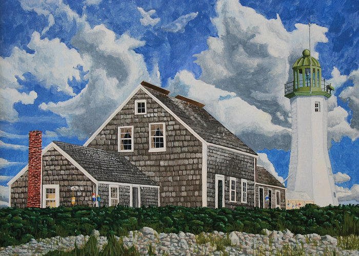 Lighthouse Greeting Card featuring the painting The Light Keeper's House by Dominic White