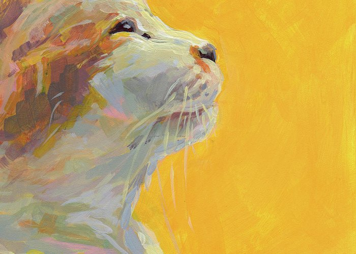 Cat Greeting Card featuring the painting The Light by Kimberly Santini