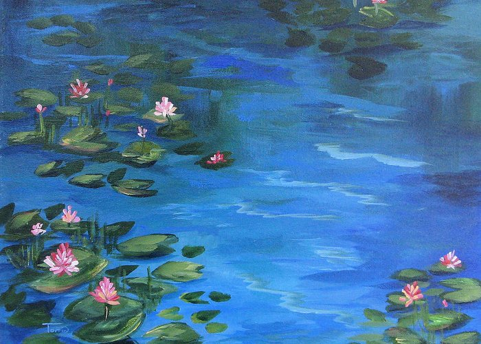 Lily Pond Greeting Card featuring the painting The Lily Pond II by Torrie Smiley