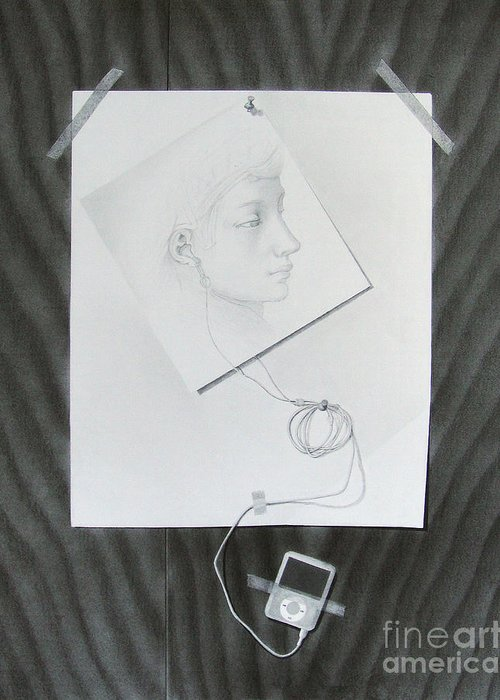 Drawing Greeting Card featuring the drawing The Link by Katerina Wert