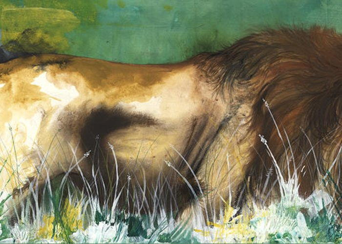 African American Artist Greeting Card featuring the painting The Lion by Anthony Burks Sr