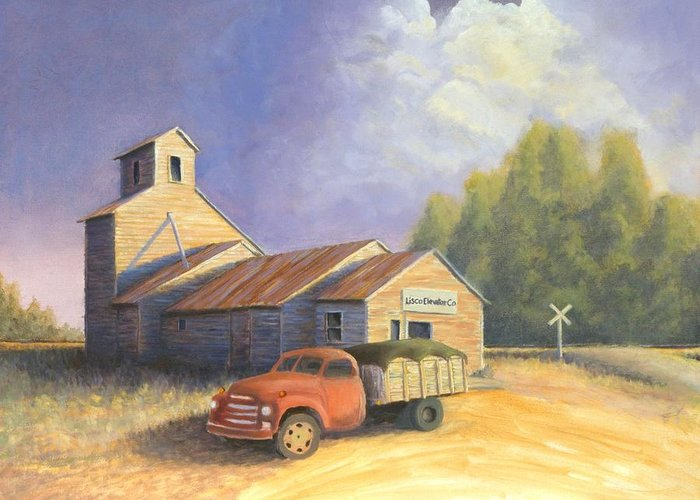 Nebraska Greeting Card featuring the painting The Lisco Elevator by Jerry McElroy