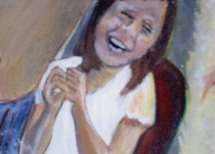 Angels Greeting Card featuring the painting The Little Angel Laughs by J Bauer