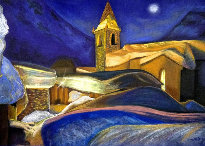 Landscape Greeting Card featuring the pastel The Little Chapel by Aymeric NOA