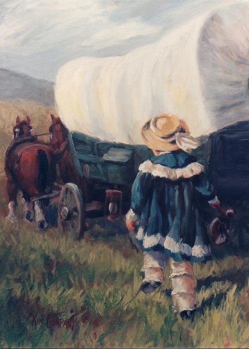 Pioneer Greeting Card featuring the painting The Little Pioneer Western Art by Kim Corpany