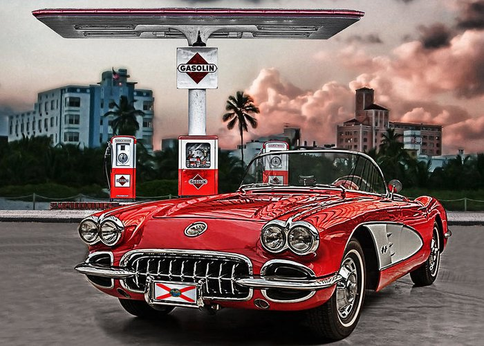 Corvette Greeting Card featuring the photograph The Little Red by Joachim G Pinkawa
